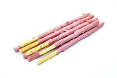 Strawberry biscuit sticks Stock Images