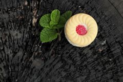 Strawberry biscuits is delicious on wood background. Stock Photo