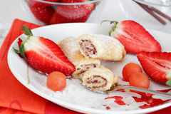 Strawberry biscuits with fruits Royalty Free Stock Photo