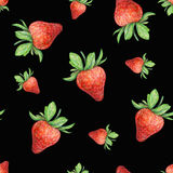 Strawberry on black background. Watercolor drawing of strawberry berries. Handwork drawn. Watercolor seamless strawberry pattern Stock Photos