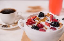 Strawberry and blackberry yoghurt dessert. In close up view Royalty Free Stock Photo