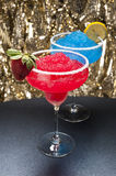 Strawberry and a Blue margarita Cocktail Stock Photos