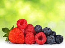 Strawberry with blueberries and raspberries Stock Image