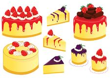 Strawberry and Blueberry Cheese Cake Vector Illustration. For many purpose such as menu book, cook book illustration or cover, stationary print on textile, bag Stock Illustration