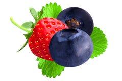 Strawberry and blueberry isolated on white. Strawberry and blueberry with leaf isolated on white background stock photo