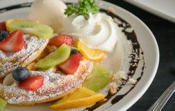 Free Strawberry Blueberry Kiwi Lemon Waffle Whipped Cream Ice Cream Chocolate Dessert 2 Stock Photo - 146609920