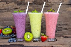 Strawberry  blueberry and kiwi smoothies juice beverage healthy the taste yummy In glass . Strawberry  blueberry and kiwi smoothies juice beverage healthy the royalty free stock photography