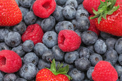 Strawberry,  blueberry and raspberry. Background Royalty Free Stock Photos