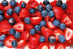 Strawberry and blueberry salad. Sliced strawberries and blueberry salad Stock Photography