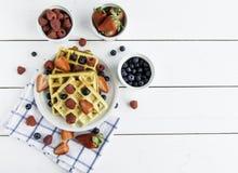 Strawberry blueberry waffle Royalty Free Stock Photography