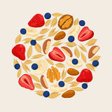 Strawberry blueberry walnut almond cereals. Heap of berries  Royalty Free Stock Photography