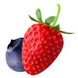 Strawberry and blueberry on white background. Isolated fruits. Strawberry and blueberry isolated on white background as package design element royalty free stock image