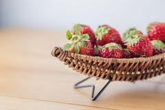Strawberry on boat copy space Stock Photography