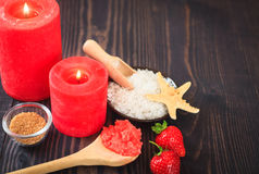 Strawberry body scrub with brown sugar and sea salt Stock Image