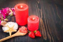 Strawberry body scrub with brown sugar and sea salt Royalty Free Stock Photo