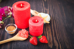 Strawberry body scrub with brown sugar and sea salt Stock Images