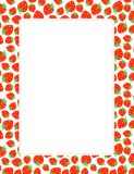 Strawberry border. Red strawberries border / frame on white background Stock Photography