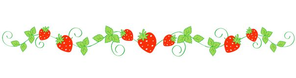 Strawberry border / divider Royalty Free Stock Photo