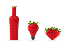 Strawberry botle - bulb - heart Royalty Free Stock Photography