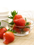 Strawberry in bowl. Closeup red and fresh strawberry in mini bowl Stock Photos