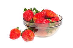 Strawberry in bowl. Against white background Stock Images
