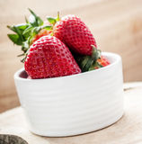 Strawberry in bowl. Close up Royalty Free Stock Photo