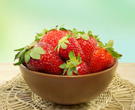 Strawberry in a bowl closeup. Royalty Free Stock Image