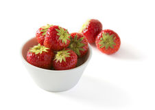 Strawberry in bowl isolated Stock Photography