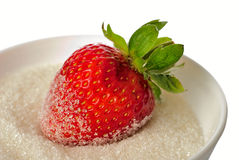 Strawberry in bowl with sugar Royalty Free Stock Photography
