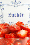Strawberry in a bowl, sugar bowl Royalty Free Stock Photo