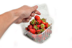 Strawberry box In hand Royalty Free Stock Images