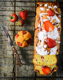 Strawberry bread from above Stock Images