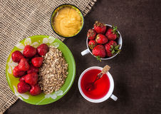 Strawberry breakfast Stock Images