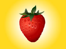 Strawberry on bright yellow Stock Photos
