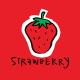 Strawberry. Broccoli, simple illustration, isolated, on red background Stock Images
