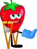 Strawberry with a broken leg walking on crutches Stock Images