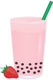 Strawberry Bubble Milk Tea with Fruit vector illustration