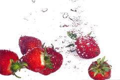 Strawberry and bubbles stock images