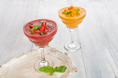 Strawberry and buckthorn smoothies whith mint Royalty Free Stock Image