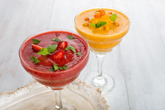 Strawberry and buckthorn smoothies whith mint Royalty Free Stock Photo