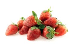 Strawberry Bunch. Bunch of strawberries over white background Stock Photos