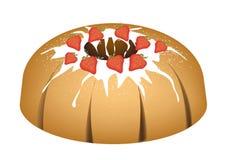 Strawberry Bundt Cake with Sugar Glaze Stock Photo