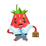 Strawberry businessman with briefcase. Cute cartoon emoji character vector Illustration Stock Image