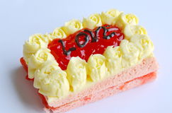 Strawberry butter cake decorate love for valentine day. Strawberry butter cake decorate love letter for valentine day Royalty Free Stock Photo