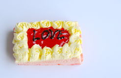 Strawberry butter cake decorate love for valentine day. Strawberry butter cake decorate love letter for valentine day Royalty Free Stock Images