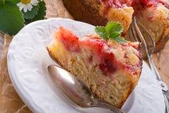 Strawberry buttermilk cake with pistachios Stock Photos