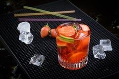 Strawberry caipirinha Stock Images