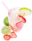 Strawberry Caipirinha isolated on white Royalty Free Stock Photography