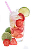 Strawberry Caipirinha  on white Royalty Free Stock Photography