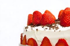 Strawberry cake. With chocolate chips royalty free stock photo